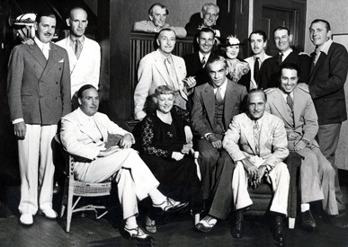 Seated left to right: Alan Mowbray, Lucile Webster Gleason, Boris Karloff, Ralph Morgan & Noel Madison. Standing, 2nd row, left to right: Kenneth Thomson, James Gleason, Richard W. Tucker, Clay Clement, Alden Gay Thomson, Bradley Page, Morgan Wallace & Arthur Vinton. Back row: Ivan Simpson, Claude King. Undated photo, circa mid-1930's.